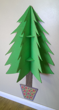 sketchup rendering and finished tree with and without decorations - Wall Mounted Christmas Tree